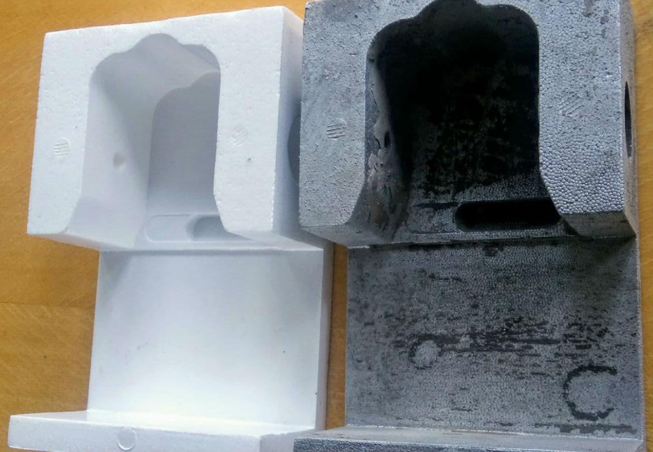 Полистироловая модель и отливка ручки контейнера из алюминиевого сплава