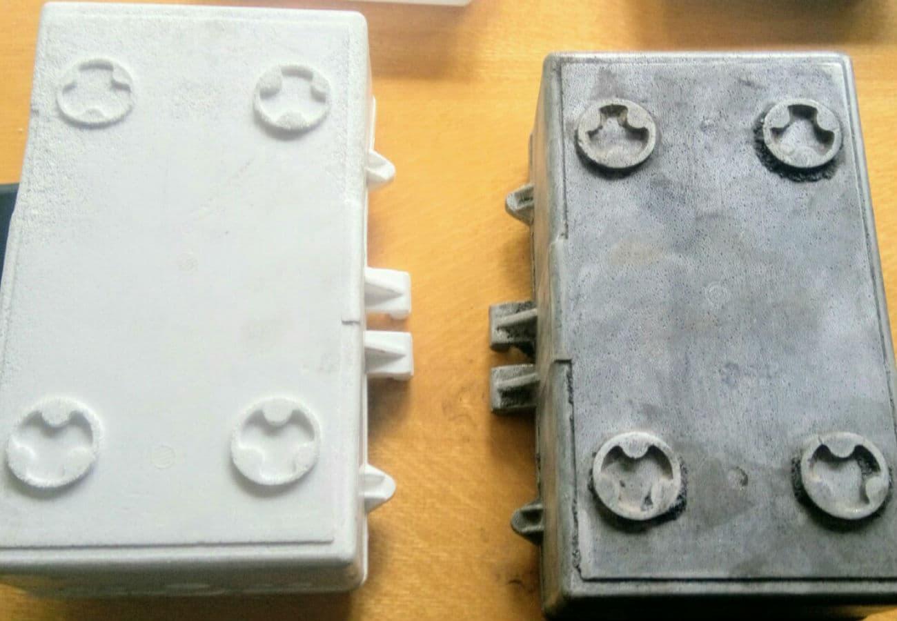 Полістиролова модель і виливок корпусу контейнера з алюмінієвого сплаву вид знизу